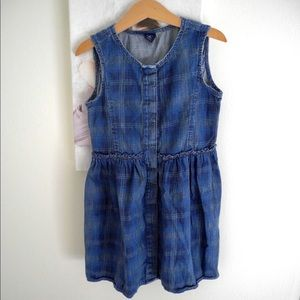 Gap Kids Navy denim Plaid button front dress